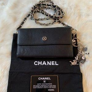 Gorgeous Authentic Chanel Black CC Wallet on Chain